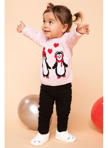 DeFacto Kız Bebek Penguen Baskılı Kalp Desenli Triko Kazak Pembe